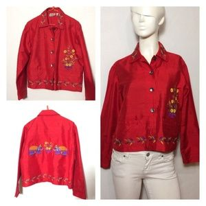 Chico's Elephant Red Silk Jacket
